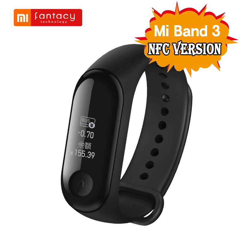 NFC Version Original Xiaomi Mi Band 3 Smart Band Fitness Tracker Miband 3 0.78'' OLED Display Screen Waterproof Smart Bracelet-in Smart Wristbands from Consumer Electronics    1