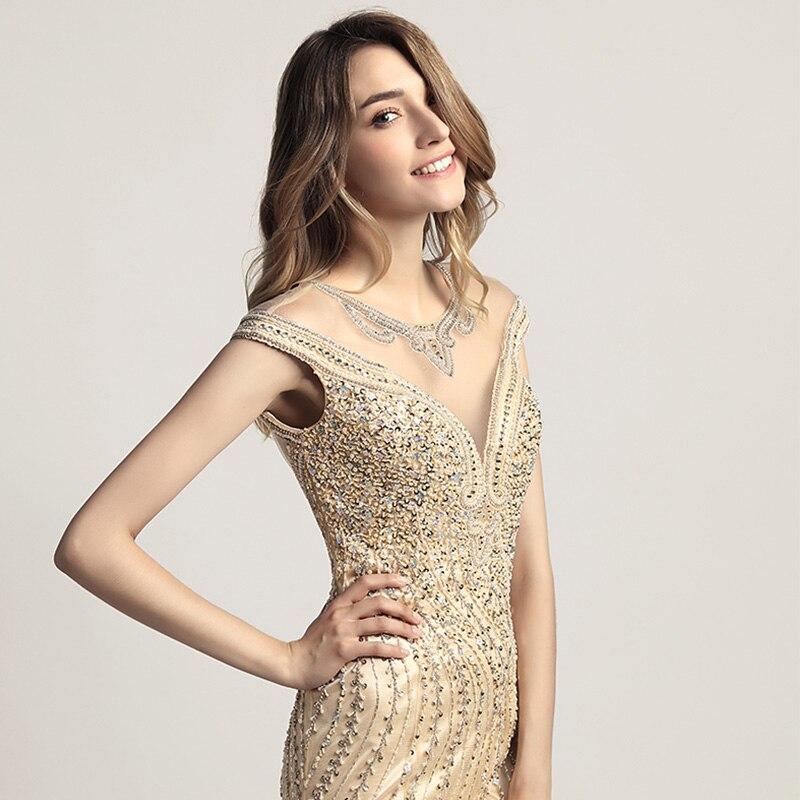 Luxo beading cristal celebridade vestidos em estoque