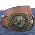 Indian Head buckle PU leather belt big buckle man belts new style fashion great leather belts 54798