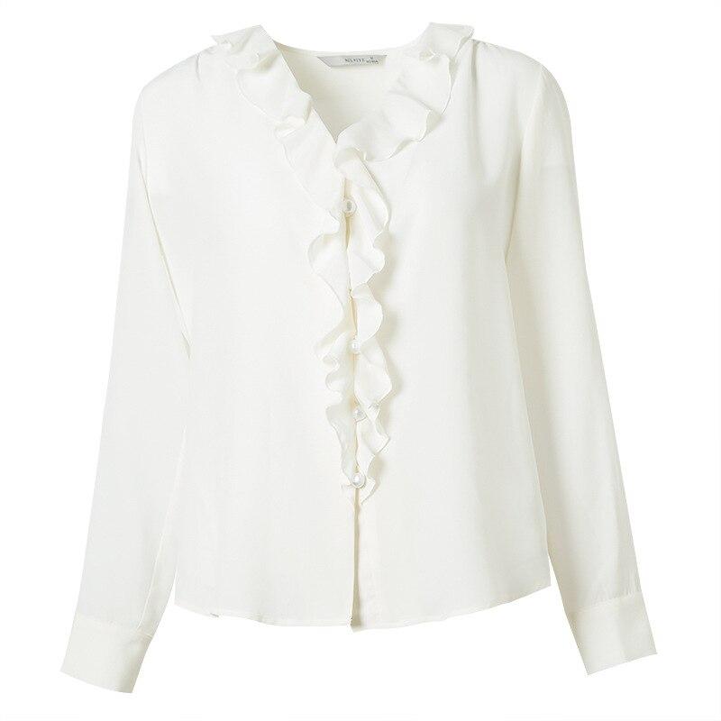 Con En V Camiseta Camisa Blusas 100 De Primavera Manga 2019 Mujer Real Casual Mujeres Seda Blanco Las Blusa Cuello Y Alta Calidad Larga Pzpqn7