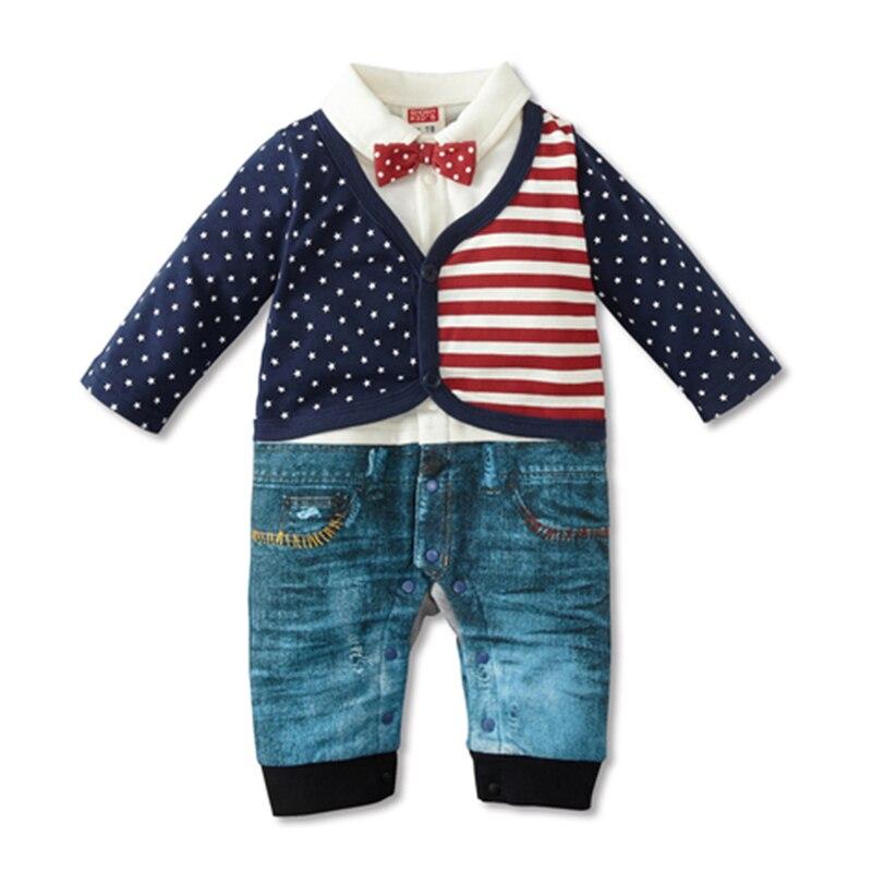 Mode stil Baby Romper Nyfødte baby drenge tøj 100% bomuld søde flag Én farve Bebe Børn et stykke rompere 1 sæt HB061