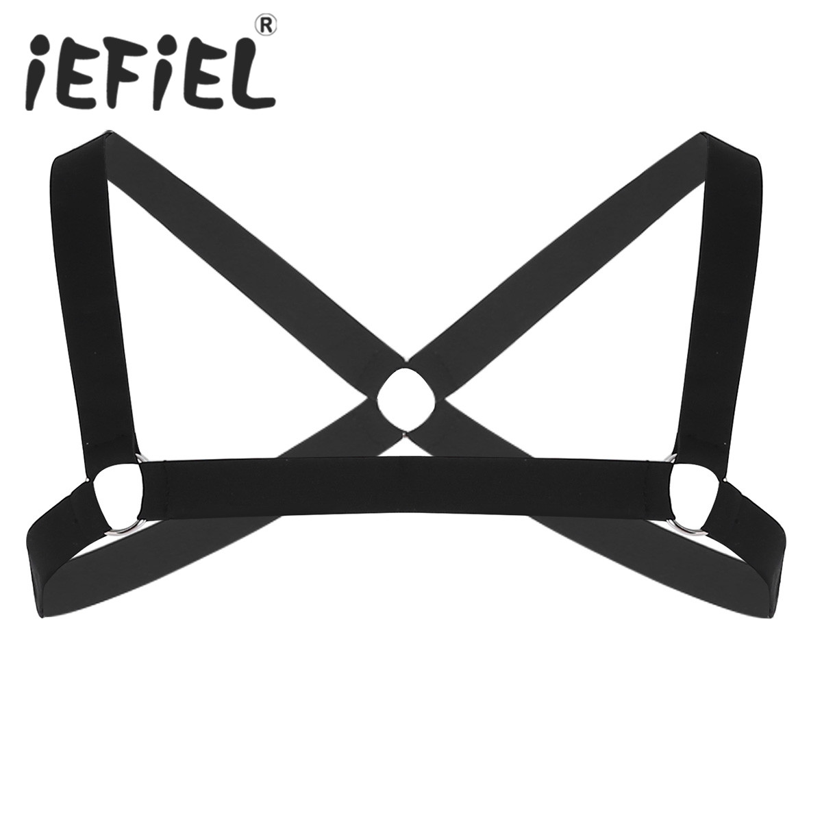 Fashion Sexy Mens Shoulder Straps X-Shape Chest Muscle Harness Belt with Metal O-rings Fancy Club Party Costume Strap Accessory
