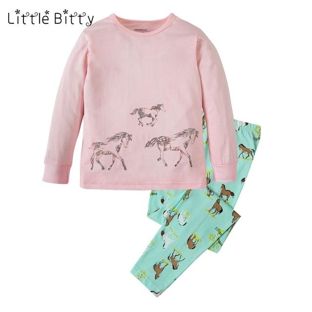 d1f7fbbf457e9 100 coton enfants pleine manches cheval impression filles Pyjamas ensembles  Pyjamas enfants bébé Pijamas Pyjama Garcon