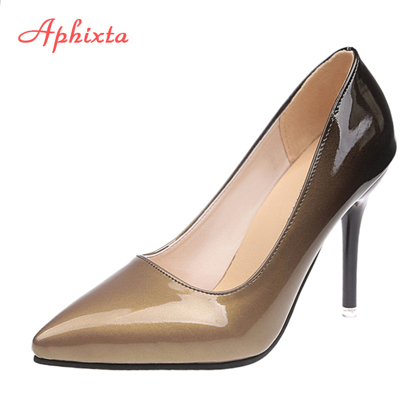 Aphixta 10cm Stiletto Heels Pumps Women Shoes Pointed Toe Patent Leather Wedding Party Dress Footwear Shoes Woman Plus Size 48