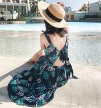 цена на Summer New Bohemian Maxi Dress Women Flower Print Backless Bandage Bundle Waist Beach Dress