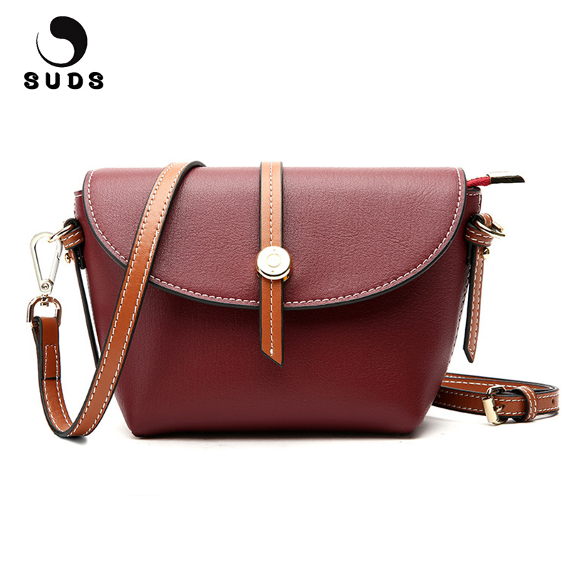 SUDS Brand Genuine Leather Women Messenger Bag Fashion Female Shoulder Bag Designer High Quality Cow Leather Tote Bolsa Feminina pabojoe brand 100% genuine leather fashion men messenger bag shoulder bag cow leather bolsa feminina free shipping