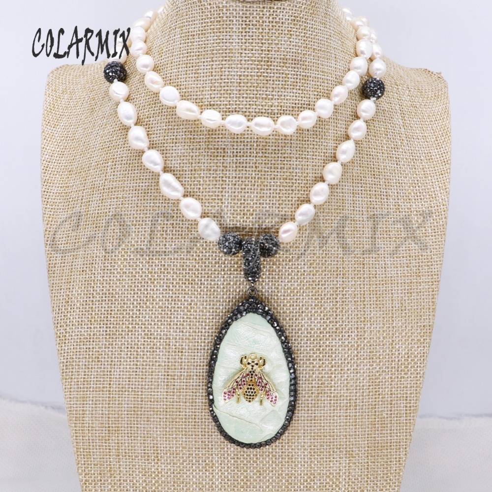 Snakeskin pendant &zircon bugs pendant Natural pearls strand pendant necklace handmade jewelry gift for lady 4113