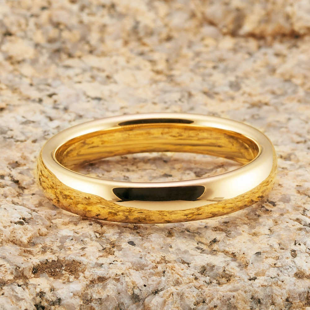 CLASSIC GOLD สีทังสเตนคาร์ไบด์แหวนคู่ 6 มม.สำหรับเขา 4mm สำหรับเธอ