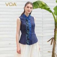 VOA шелк жаккард блузка плюс Размеры Для женщин топ Office футболка Топы темно синий без рукавов Лето Печать Тонкий ретро основные B573