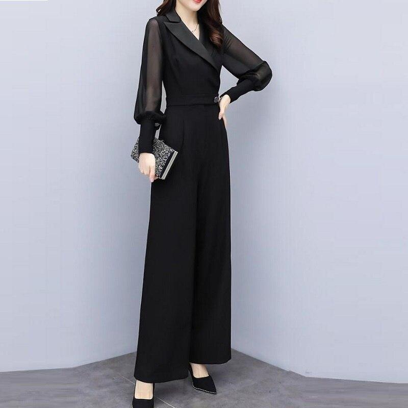 2019 macacões para mulheres outono coreano senhora do escritório elegante chiffon lapela v pescoço manga longa ampla perna macacão preto branco aa4737 - 4