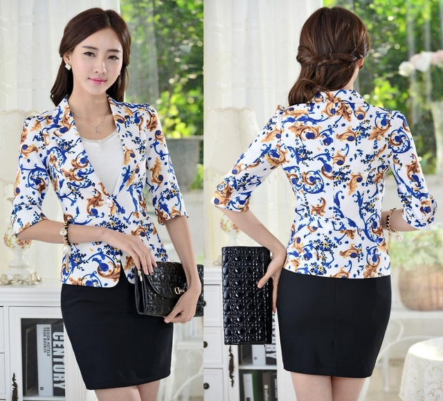 Fashion Uniform Style Blazers Women Suits Tops And Skirt 2015 Summer Elegant Ladies Office Beautician Clothing Business Sets