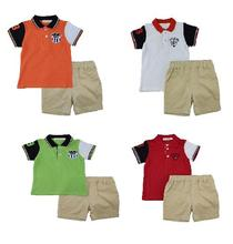 Ladouby Little Boys T-shirt long pants 2 pieces clothes set Top Overall 3-8Y
