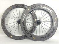 60 + 88 мм Дорожные углерода велосипед колеса 700C 23 мм ширина Clincher Трубчатые Велоспорт велосипеды углеродного колесная С Базальт тормоз