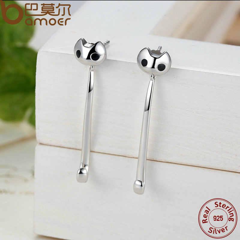 Bamoer 925 Sterling Zilveren Lange Oorbellen Fijne Sieraden 3 Dragen Stijl Cat Animal Fashion Oorbellen Sieraden SCE007