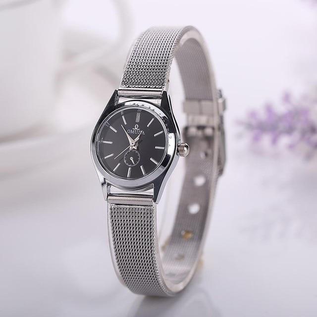 Women Fashion Stainless Steel Band Analog Quartz Round Watches Diamond Ladies Wr