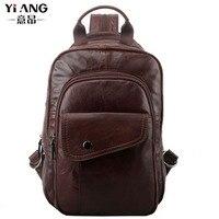 Men Genuine Leather Da Bò túi xách Tay Ngực sling bag Đa Năng Cưỡi Giản Dị Du Lịch Ba Lô