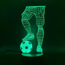 3D Illusion Sport Soccer Player Hold Football Led Night Light Touch Sensor Switch Color Changing Baby Sleeping Nightlight Lamp цена