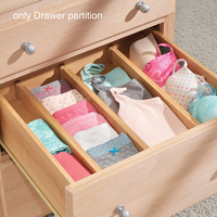 4Pcs Multipurpose Home Partition Board Free Separation Office Bedroom Bamboo DIY Drawer Dividers Kitchen Retractable Stretch
