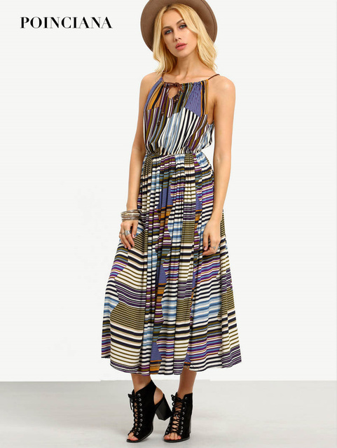Holidays Women Summer Beach Boho Dress Striped Sleeveless Sexy ...