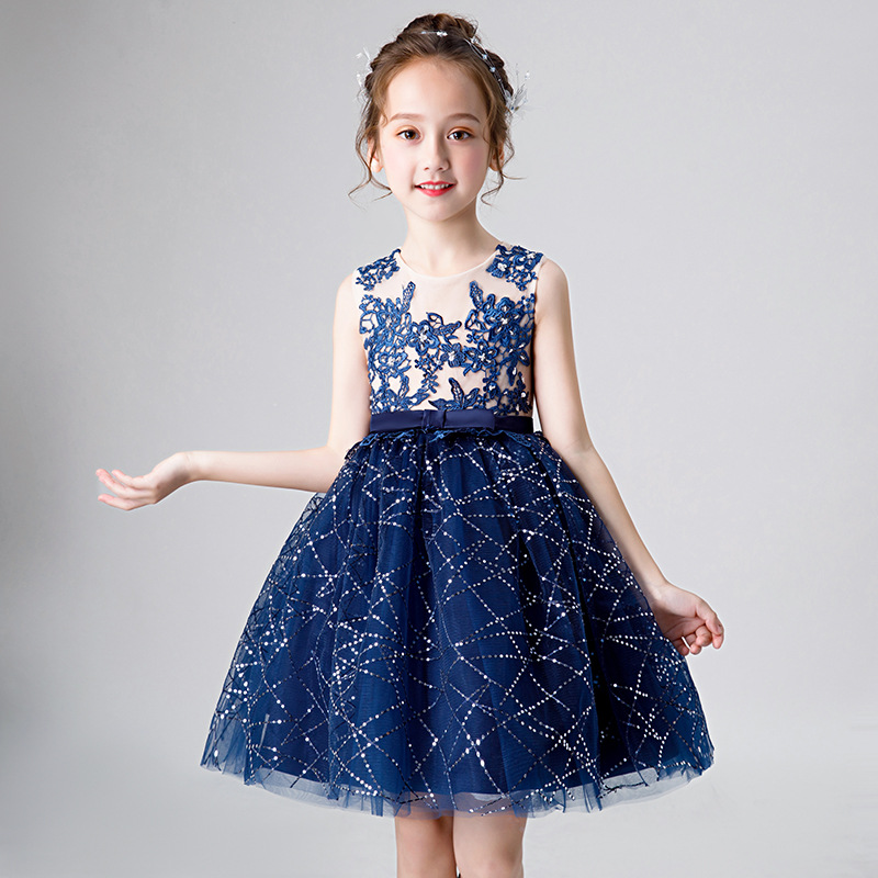 Appliques Princess Party Dress Sequined Flower Girl Dresses for Wedding Evening Gowns Ball Gown Kids Girls Birthday Dress B438
