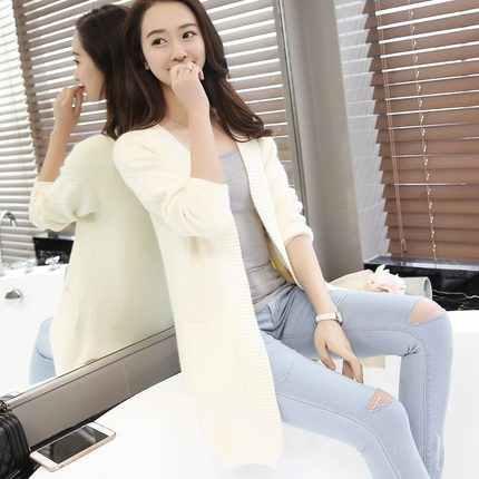 Nueva llegada 2019 mujeres suéter cárdigan mujer Cachemira tejido más tamaño abrigo moda manga larga suéter Suelto