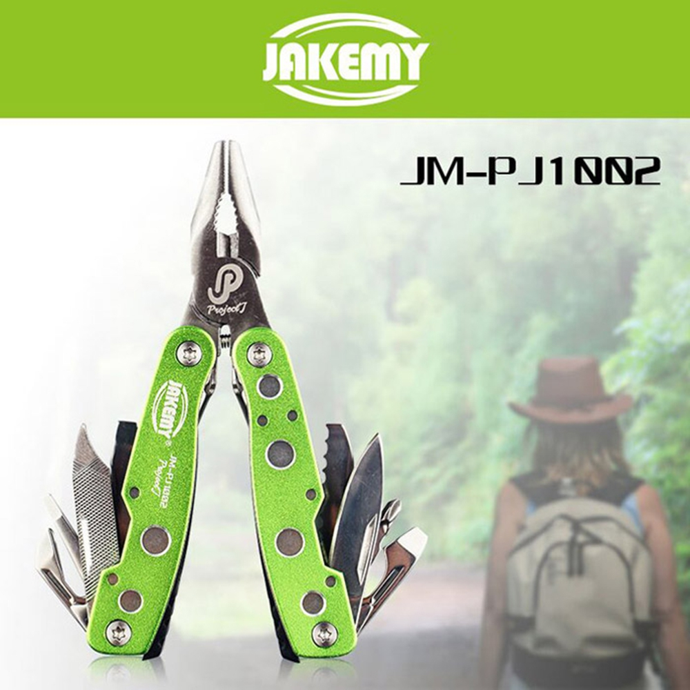 цена на Jakemy JM-PJ1003 Folding Blade Knife 9 in1 Multitool Outdoor Army Survival Cutting Pliers Opener Screwdriver Camping Hand Tools