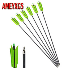 3/6/12pcs Archery Mix Carbon Arrow OD7.8mm 400 Spine Arrow With Turkey Feather for Recurve Bow Compound Bow Accessory цены