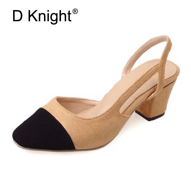 Patch Color Women Square Toe Ankle Strap Shoes Woman Thick Med High Heels Gladiator Sandals Women Pumps Chaussure Femme Size 43 women chic champagne patent leather sandals square thick high heels pumps covered heel single strap gladiator shoes golden pumps