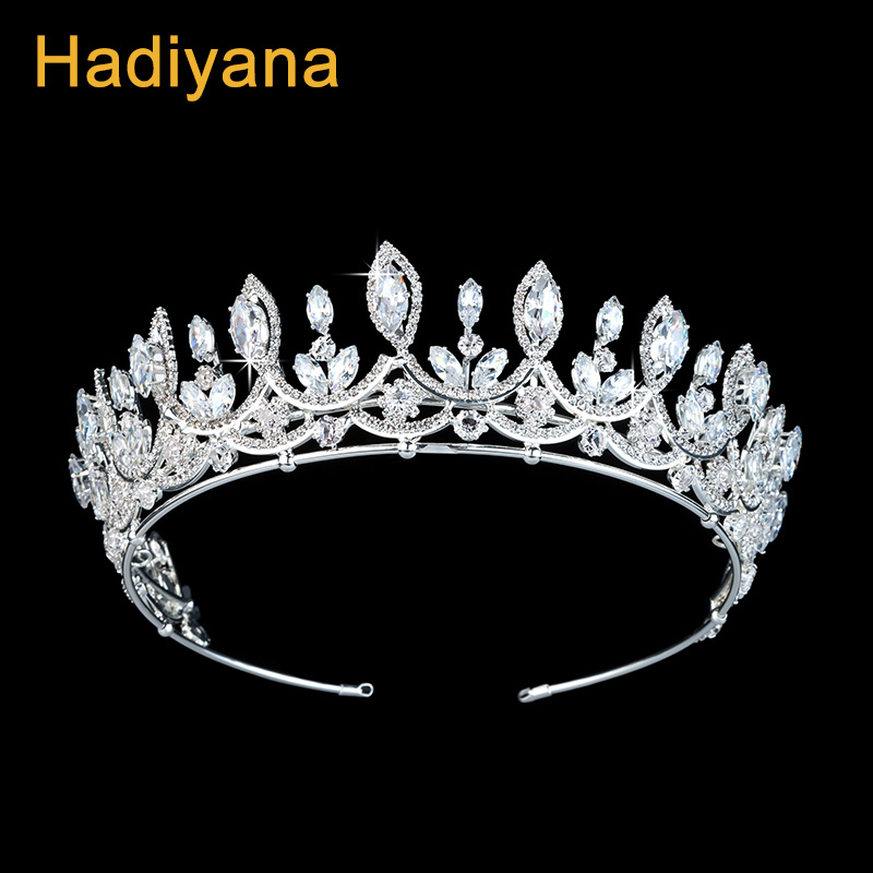 Hadiyana Gorgeous Sparkling Big Zincons Bride Hair Jewelry Accessories Crown Fashion Women Pageant Tiara Crowns Wholesale