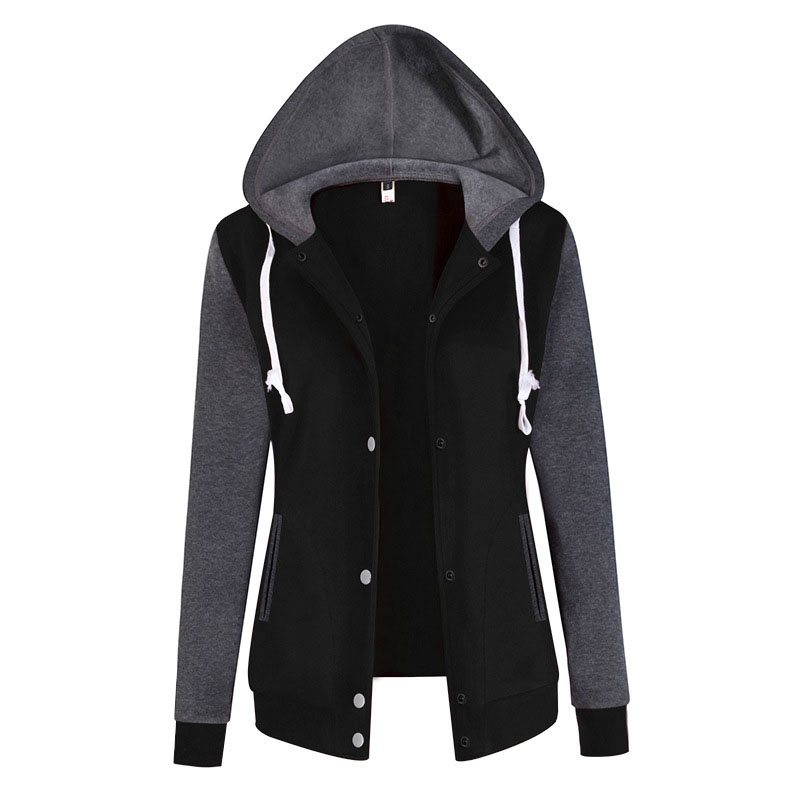 Women   Jacket   Winter Patchwork Button Female   Jacket   Coat Women Hooded Fleece   basic     jacket   Autumn Warm Pocket Outwear for Women