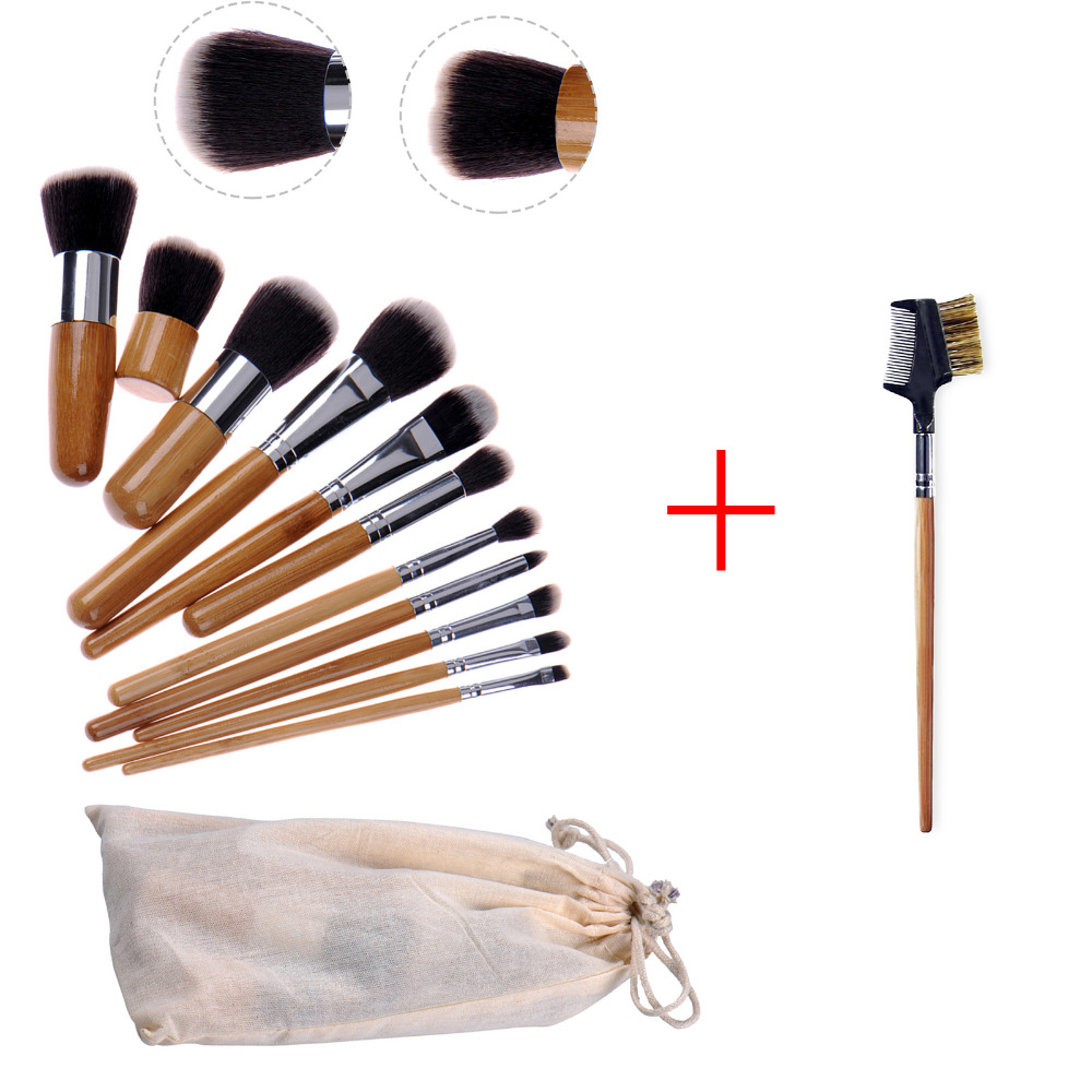 Makeup Brush Set 11pcs Professional Bamboo Handle Synthetic Foundation Concealer Eye Face Powder Cosmetics Brushes Kit With Bag 2017 pro 1 pcs bamboo handle eye brushes makeup flat brushes cosmetics professional makeup brush set hairbrush ap253