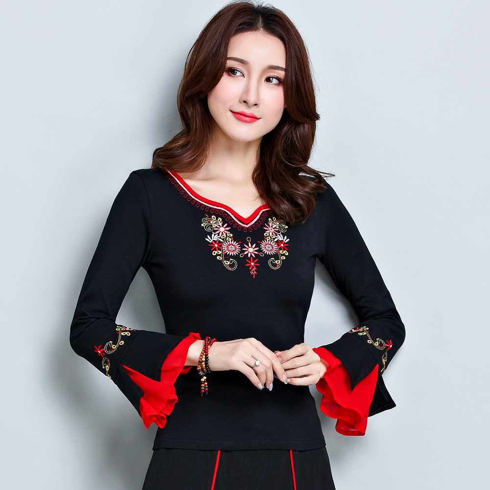 798b7a3ea7 KYQIAO women winter pullover female autumn winter Mexico style ethnic  vintage long flare sleeve black embroidery