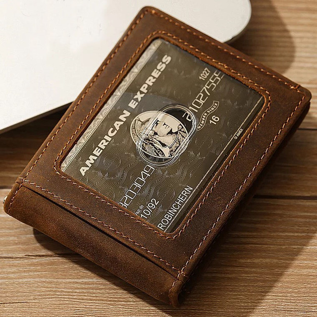 fe069099b8e Men Crazy Horse Genuine Leather Slim Wallet Thin Minimalist Wallet RFID  Blocking Front Pocket Wallet Handmade Money Clip R9008
