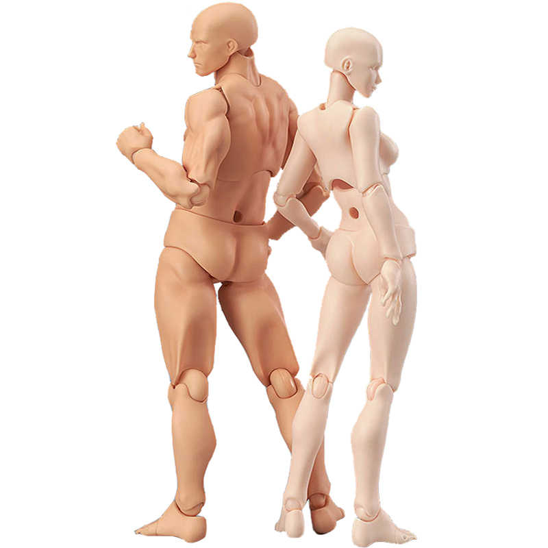 13cm Action Figure Toys Artist Movable Male Female Joint figure PVC body figures Model Mannequin bjd Art Sketch Draw figurine