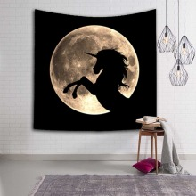 Night Scene Unicorn Tapestry Wall Hanging Wild Animals Wolf Mermaid Star Moon Camping Home Blanket Mountain Polyester Decoration