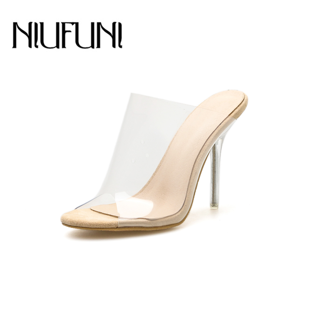 71a440c7a Aneikeh Big Shoe 41 42 2019 PVC Jelly Sandals Open Toe High Heels Women  Transparent Perspex Slippers Shoes Heel Clear Sandals