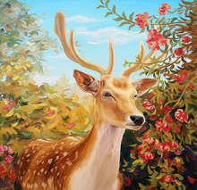 5D DIY Diamond Painting Sika Deer Full Square  Embroidery Mosaic Animal Pictures of Rhinestones Handwork