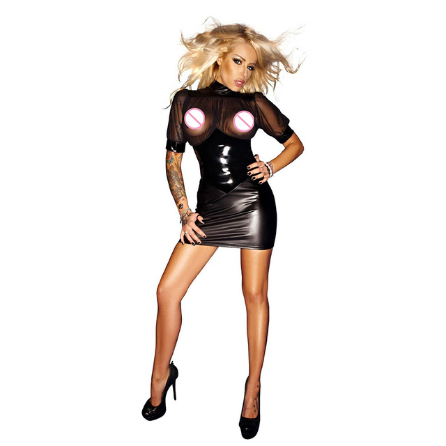 Club Short Sleeve Mini Dress Wetlook Kleid Vinyl Leather