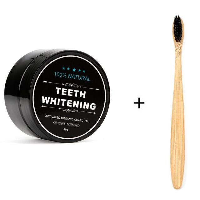 Kit de blanqueamiento dental en polvo de carbón de coco activado de 1 oz con cepillo de dientes para higiene bucal