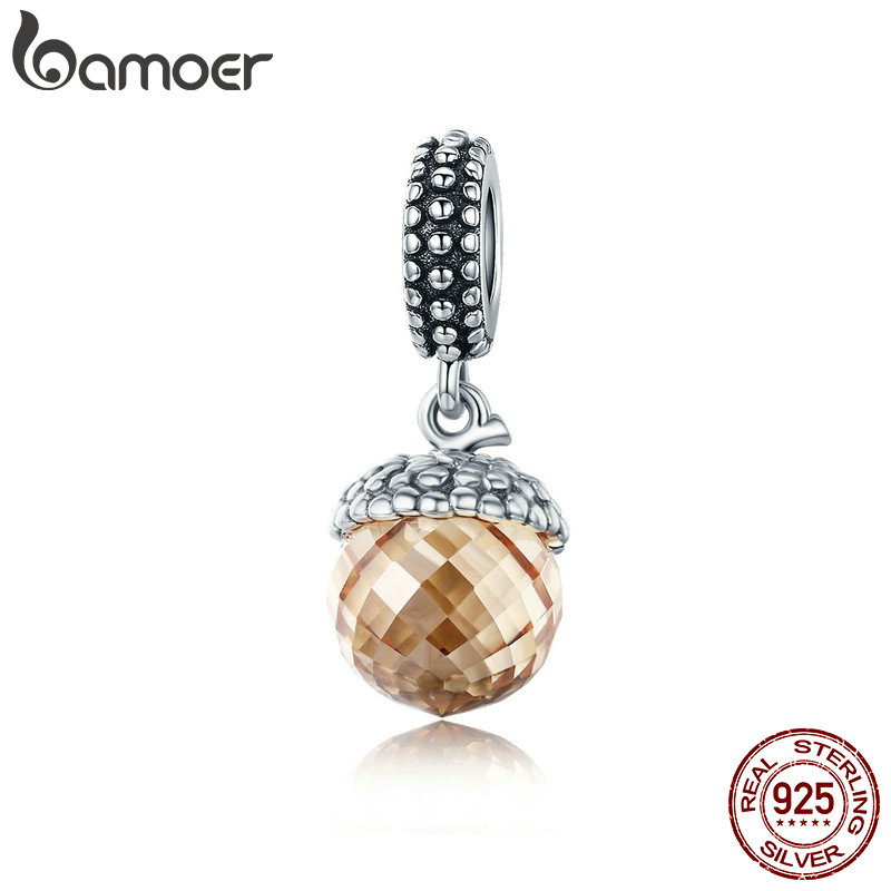 BAMOER Authentic 925 Sterling Silver Pendant Filbert Nut Shape Brown Crystal Charm fit Bracelet & Necklace DIY Jewelry SCC584