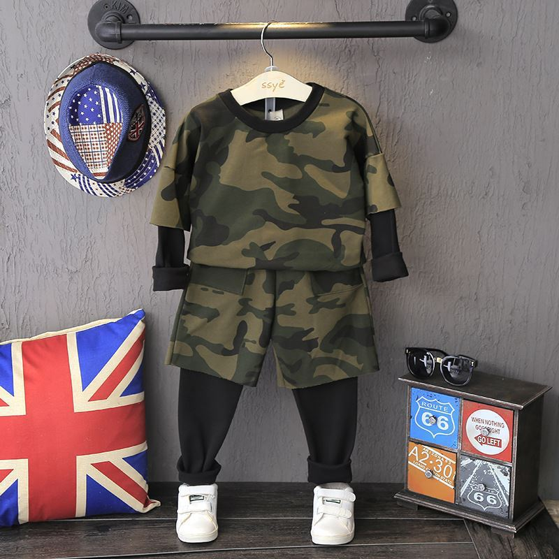 2018 New Camouflage Kids Clothing Sets for Boys Girls Spring Autumn Cotton Camo Teen Children Sports Suits for 2 3 4 5 6 7 Years children s spring and autumn girls bow plaid child children s cotton long sleeved dress baby girl clothes 2 3 4 5 6 7 years