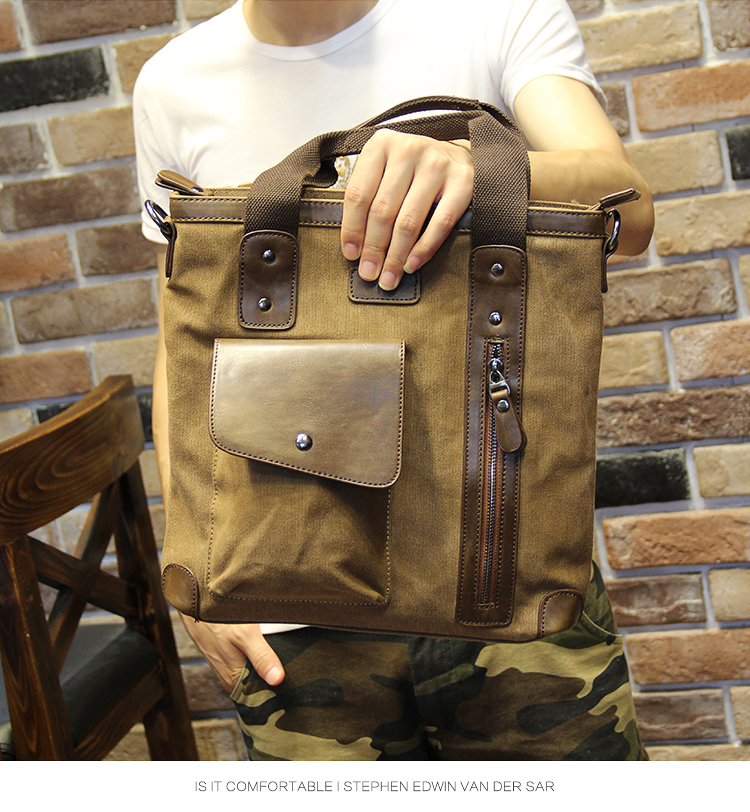 Men's bags Brand Vintage Men's Messenger Bags Canvas Shoulder HandBag Fashion Men Business Crossbody Bag Casual Travel Handbag 23