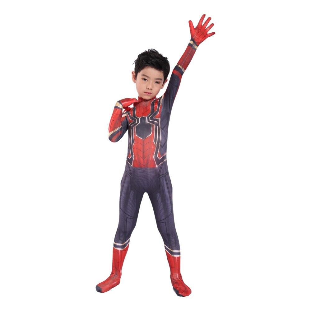 Kids Spiderman Unisex Halloween Zentai Cosplay Costume Spider Spandex Lycra Bodysuit Jumpsuits Iron Spiderman