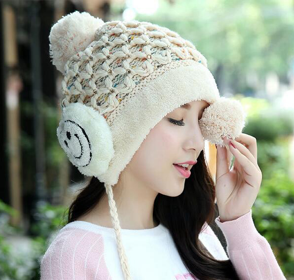 Casual Autumn Winter Wool Beanies Solid Thick Bonnet Knitted font b Skullies b font Ladie Women