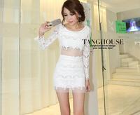 элегантный сексуальное перспектива марли с длинными рукавами тонкий кружево цельный платье из искусственного из двух частей