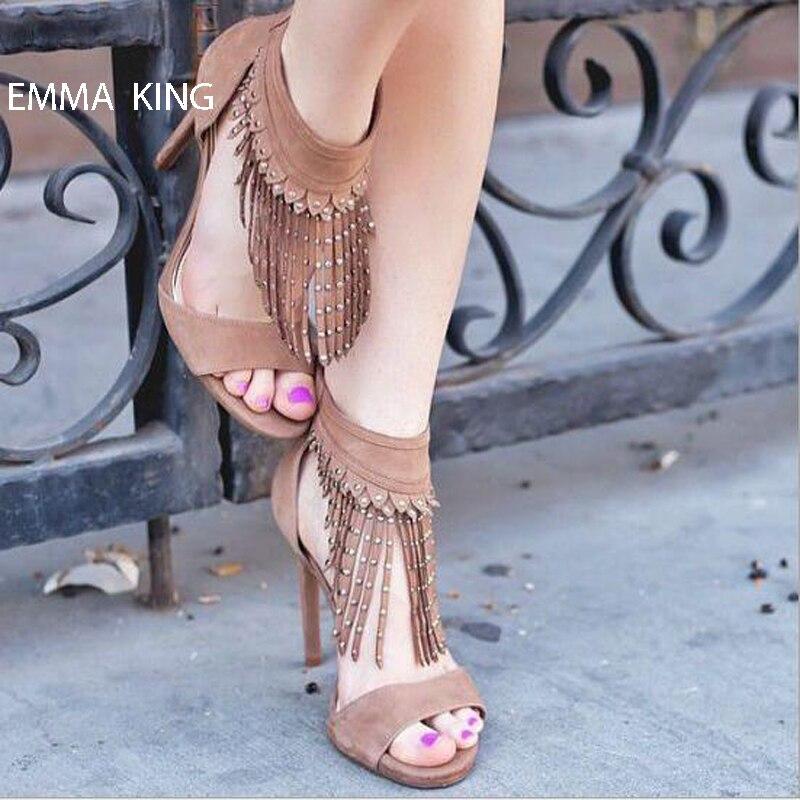 Emma Borla King De Talones Zapatos 2018 Moda Sandalias Gladiador Mujeres Bombas Verano pic Partido Mujer 1 Pic 2 Flecos Delgado Con rdrXYwq
