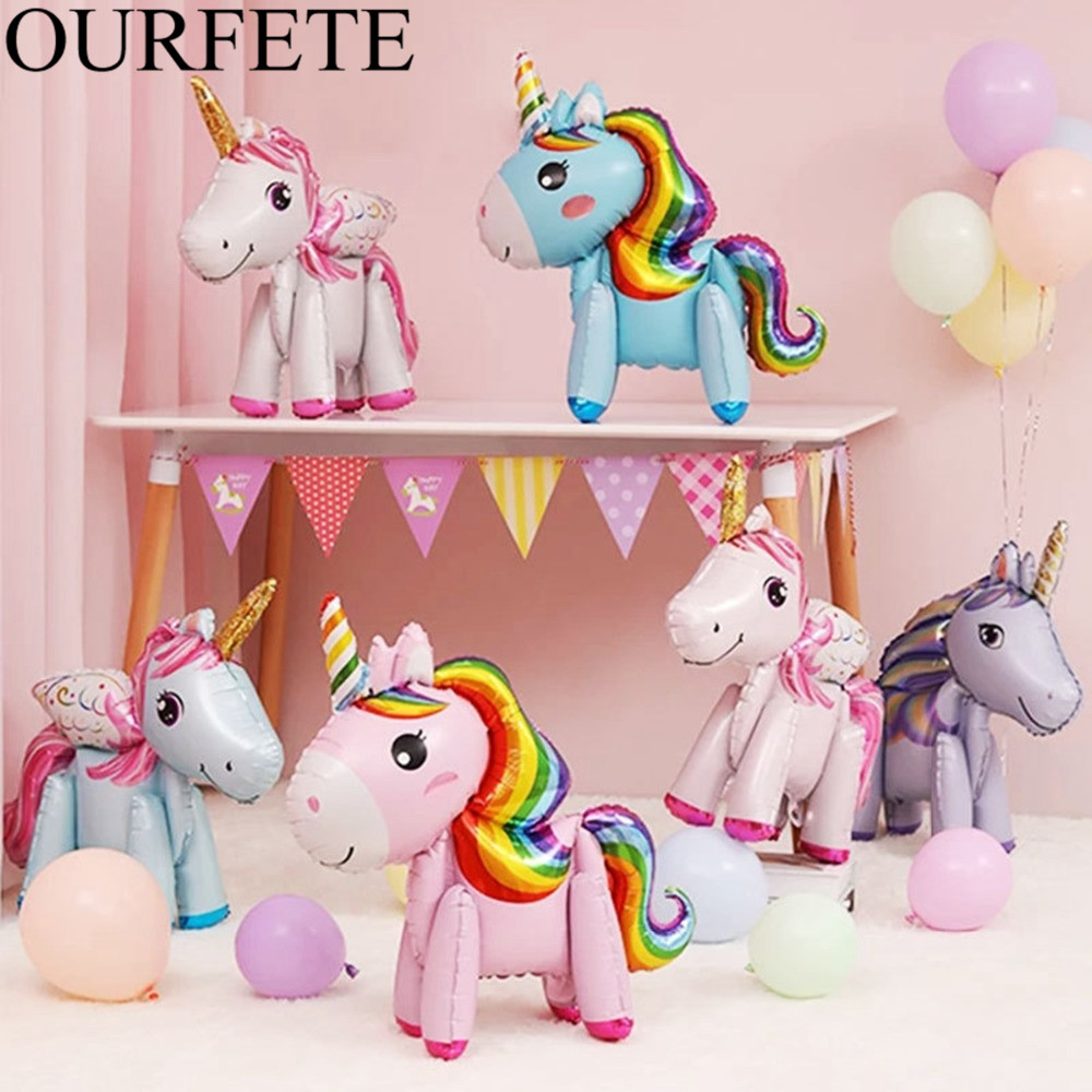 Unicorn Balloons Horse Helium Foil Balloon Kids Birthday Party Favor Rainbow Walking Balloon Giant Magical Unicorn Party Supply