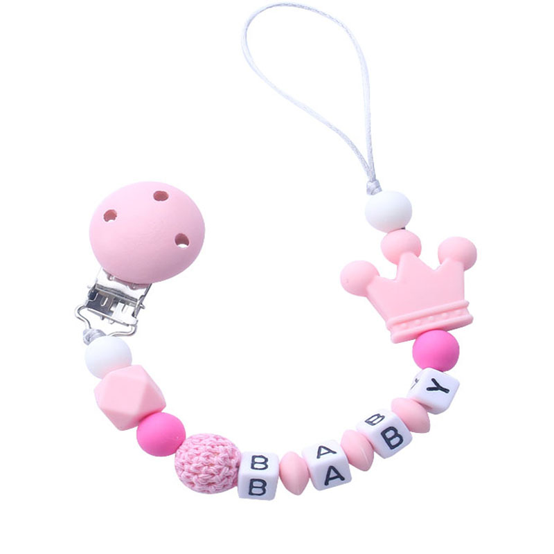 1pcs Pink Silicone Personalised Name Baby Pacifier Clips Crochet Beads Silicone Crown Pacifier Chain Holder Baby Shower Gift 1