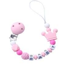 Chupeta em silicone personalizada com nome e miçangas de crochê, para bebês, com chaveiro e coroa rosa siliconada, ideal para chá de bebê e presente, 1 unidade