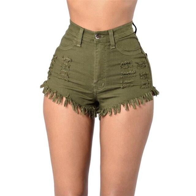 Verão shorts de cintura alta 3 cores rasgado denim jeans mini shorts  mulheres curto sexy designer 0cb92175595d8